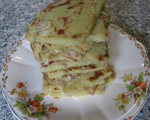 a stack of potato farls